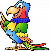 Hand-drawn Vector Illustration Of An Happy Colorful Parrot