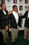 BURBANK - AUGUST 22: John Foster and George Lopez at the press conference announcing George Lopez for the 2007 Bob Hope Chrysler Classic at Warner Bros. Studios on August 22, 2006 in Burbank, CA.