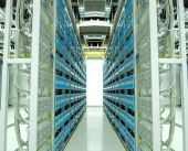 stock photo of telecommunications equipment  - shot of network cables and servers in a technology data center - JPG