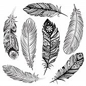 stock photo of hippies  - Isolated Set of black ethnic tribal feathers - JPG