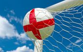 England Flag And Soccer Ball In Goal Net