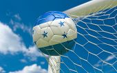 Honduras Flag And Soccer Ball In Goal Net