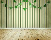 Stripe Wallpaper Background With Green Pennants Festoon