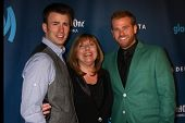 Chris Evans, Lisa Evans, Scott Evans at the 24th Annual GLAAD Media Awards, JW Marriott, Los Angeles