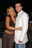WESTWOOD - APRIL 19: Natasha Henstridge and friend at the 35th Birthday Celebration for Travel and Leisure Magazine in W Hotel on April 19, 2006 in Westwood, CA.