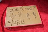 Jane Fonda`s handprint at the Jane Fonda Hand And Foot Print Ceremony as part of the 2013 TCM Classic Film Festival, TCL Chinese Theater, Hollywood, CA 04-27-13