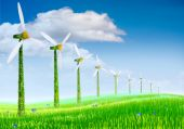 Ecological Windmills On A Meadow With Clouds