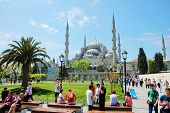 People visiting square near Sultan Ahmed Mosque
