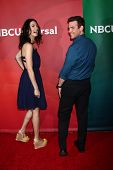 Joanne Kelly, Eddie McClintock at the 2013 NBC Universal Summer Press Day , Langham Huntington Hotel, Pasadena, CA 04-22-13