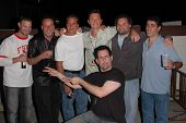 K.C. Armstrong, Reverend Bob Levy, Nick Di Paolo, Craig Gass, Artie Lange and Gary Dell'Abate at the FM Talk Brew Ha Ha comedy show in Agoura Hills, CA 06-12-04