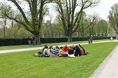 Group Of Youths At A Picnic In Spring Jubelpark  Brussels, Belgium