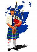 picture of bagpipes  - Scottish bagpiper earth symbol vector illustration art - JPG