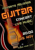 Rock Concert Design Template With Guitar, Microphone