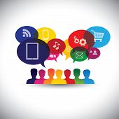 stock photo of chat  - icons of consumers or users online in social media shopping  - JPG