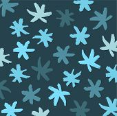 Snowflake Vector Background. Blue Brash Strokes