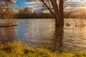 The river overflowed