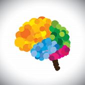 Vector Icon Of Creative, Brilliant & Colorful Painted Brain