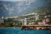 Lighthouse On Embankment Of Yalta, Crimea