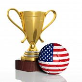 Golden trophy and ball with flag of USA  isolated
