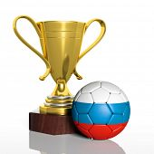 Golden trophy and ball with flag of Russia isolated