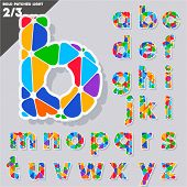 Festive Carnival Font. Multicolored Vector Alphabet. Bold Style Set 2