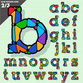 Festive Carnival Font. Multicolored Vector Alphabet. Style Slab. Set 2