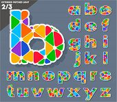 Festive Carnival Font. Multicolored Vector Alphabet. Extended style. Set 2