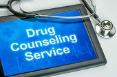 Tablet with the text Drug Counseling Service on the display