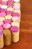Wine corks on wooden table close-up
