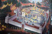 Bangkok, Thailand - July  5: Thai Mural Paintings At Wat Phra Kaew On July 5, Thailand. Scenes Of  R