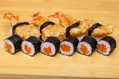Sushi Roll Set With Ebi Tempura Shrimp On Wooden Background