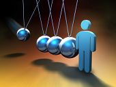 People icon about to be hit by a swinging sphere on a Newton's cradle. Digital illustration.