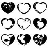 Set Of Grunge Heart Silhouettes Ink Splatter