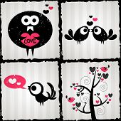Set Of Four Romantic Illustrations With Cute Birds