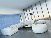 Contemporary grey, blue and white living room interior decor with a modular white lounge suite on a grey floor , floor-to-ceiling windows and blue wall decoration