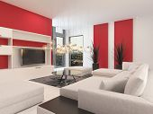 Modern white living room interior with red accents on the walls and a large comfortable upholstered lounge suite with ottomans facing a television set