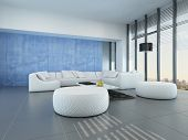 Contemporary grey, blue and white living room interior decor with a modular white lounge suite on a