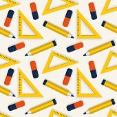 Seamless Background With Stationery. Vector Pattern.