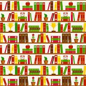 Seamless Background With Bookshelves. Vector Pattern.