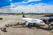 Moscow, Russia, on July 5, 2014. Preflight service of the plane of airline Lufthansa at the airport