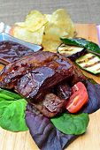 Barbecue ribs with grilled vegitables