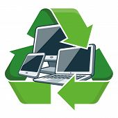 image of reuse recycle  - Electronic devices with recycling symbol - JPG