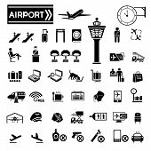 stock photo of cabin crew  - big set of airport icons in white background - JPG