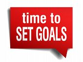 Time To Set Goals Red 3D Realistic Paper Speech Bubble Isolated On White