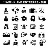 entrepreneur icons, start up business