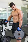 Shirtless young muscular man lifting weight in gym