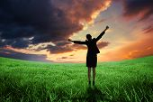 Excited businesswoman cheering against green field under orange sky