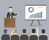 Businessman Gives A Presentation Or Seminar. Business Meeting, Training