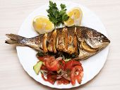 Cooked fish sea bream fish