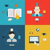 Flat Design Icons Of Education, Online Learning And Research.